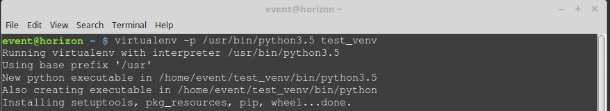 setting up virtualenv